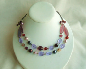 Purple Glass Two Strand Beads Necklace with Extension