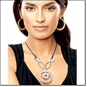 Mixed Metal Circle Necklace By Avon