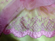 Mauve Floral and Bead Embroidered Organza, 2 Yards