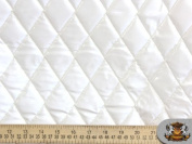 Vinyl QUILTED FOAM GLOSSY WHITE Fabric w/ 1cm FOAM BACKING Upholstery