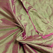 Green/fuchsia 2tone 100% Silk Dupioni Fabric 140cm By the Yard