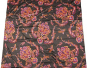 Black Polyester Satin Fabric Paisley Style Print Drape Dress Kimono Apparel Sewing Craft 1 Yard
