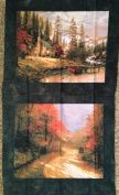 Thomas Kinkade LOG CABIN ON LAKE Fabric Panel, 2 FALL SCENES (Great For Quilt, Sewing, Craft, Pillow Case or Throw Pillows) 60cm x 110cm Wide