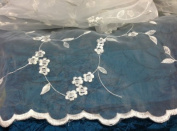 Small Delicate Flower and Flower Pedal Embroidered on Organza, 2 Yards
