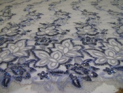 Grey- Fancy Lace Design with Embroidery and Beads on Polyester Mesh