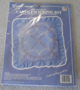VOGART CRAFTS--HEIRLOOM PILLOW CANDLEWICKING KIT FABRIC FOR RUFFLE AND BACKING INCLUDED [ CIRCLES ]