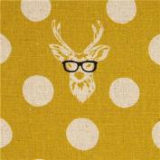 echino laminate fabric Buck stag deer with glasses yellow