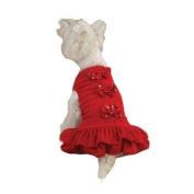 Zack & Zoey Velouria Red Bow Dog Party Dress , Medium