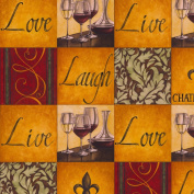 Wine Fleece Throw Blanket with Finished Edges Chateau Vin Live Love Laugh Grid