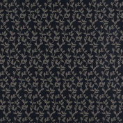 140cm Wide D324, Navy And Beige Vine Leaves Jacquard Upholstery Fabric By The Yard