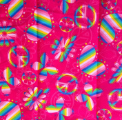 Retro Style PEACE SIGNS, BUTTERFLIES & HEARTS Tossed on HOT PINK Fabric (Great For Quilting, Sewing, Craft Projects, Curtains, Pillows, etc.) 2 Yards