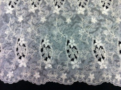 Ivory Organza W/corded Floral Embroidery Beads & Sequins Lace Fabric 110cm By the Yard
