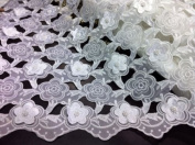 White Organza Pearl Cutwork Bridal Lace 120cm Wide By the Yard