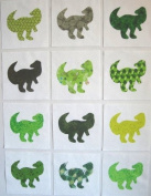 12 Applique Green Dinosaur Quilt Blocks 17cm Squares