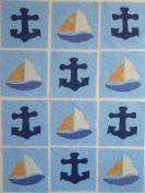 12 Applique Scrap Anchors and Sail Boats Quilt Blocks 17cm Squares