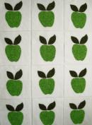 12 Applique Scrap Green Apples Quilt Blocks 17cm Squares