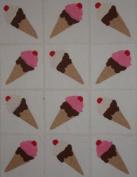 12 Applique Scrap Ice Cream Cone Quilt Blocks 17cm Squares
