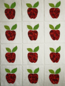 12 Applique Scrap Red Apples Quilt Blocks 17cm Squares