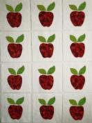 12 Applique Scrap Red Apples Quilt Blocks 17cm Squares