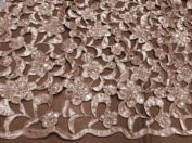 Peach Cutout Satin W/pearl Beads Bridal Lace Fabric 120cm By the Yard