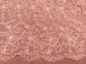 Peach Organza W/corded Floral Embroidery Beads & Sequins Lace Fabric 110cm By the Yard