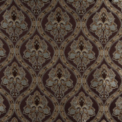 140cm Wide K0016F Brown, Light Blue, Gold And Ivory Embroidered, Traditional Brocade, Upholstery and Window Treatments Fabric By The Yard
