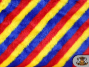 Faux / Fake Fur LONG PILE SHAGGY 3 TONE SLANT STRIPE RED YELLOW BLUE By the Yard