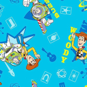 Disney Pixar TOY STORY Sewing Quilting Pillow Craft WOODY & BUZZ LIGHTYEAR on Blue Fabric