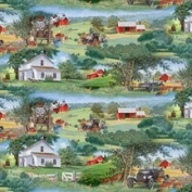 AN APPLE A DAY Quilt Sewing Craft Fabric SCENES FROM DAYS GONE BY DOWN ON THE FARM