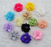 Cloris 15pcs Assorted Colours Handmade Mini Chiffon Flowers for DIY Headbands Clips