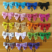 Cloris 20pcs Assorted Colours Small Handmade Bling Sequins Bows for DIY Headbands Clips