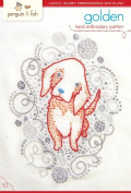 """Penguin & Fish """"Golden"""" Puppy Hand Embroidery Pattern"""