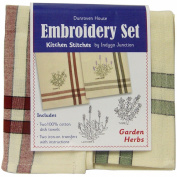 Garden Herbs Kitchen Stitches Embroidery Set-Cream W/Red & Cream W/Green Side Stripes