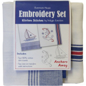 Anchors Away Kitchen Stitches Embroidery Set-White W/Blue & White W/Red & Blue Stripe