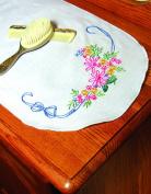 Fairway Needlecraft 18269 Dresser Scarf, Cross Stitch Butterfly Design, White, Perle Edge