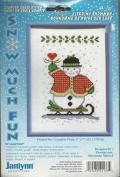 Janlynn Sledding Snowman Counted Cross Stitch Kit Snow Much Fun #41-133