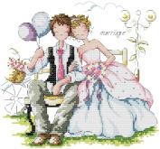 14 Counted Aida Cross Stitch Wedding Love Couple Kit Kx017