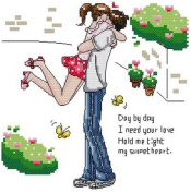 14 Counted Aida Kids Cross Stitch Love Couple Children Kit Kq120