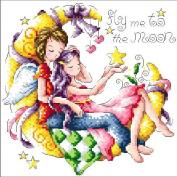 14 Counted Aida Kids Cross Stitch Love Couple Children Kit Kq127