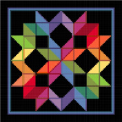Counted Cross Stitch Chart of a Carpenters Wheel inspired by an Amish quilt design