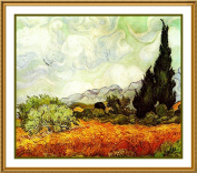 Wheat Field with Cypress Trees inspired by Impressionist Vincent Van Gogh's Counted Cross Stitch Chart