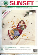 Sunset Patchwork Angel Counted Cross Stitch on Waste Canvas, 23cm Square