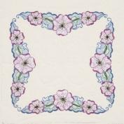 Fairway Needlecraft 98409 Quilt Blocks, Large Flower Design, White, 6 Blocks Per Set