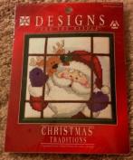 Santa Peeking Counted Cross Stitch