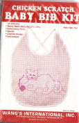 Chicken Scratch Baby Bib Kit - Pink Gingham with Cat Cross Stitch Design