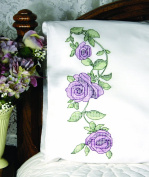 Fairway Needlecraft 83245 Cross Stitch Perle Edge Pillowcases, Rose Vine Design, Standard, White