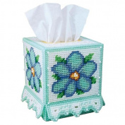 Craftways Blue Beauty Tissue Box Plastic Canvas Kit