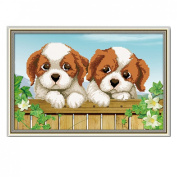 3D Stamped Cross Stitch Kit Pair of Cute Dog - 50cm By 13.4