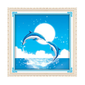 Double Dolphin 3D Stamped Cross Stitch Kit - 48cm By 48cm
