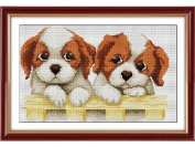 Happy Forever Cross Stitch, Cartoon, two puppies
